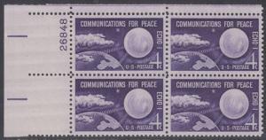 USA Michel 803 / Scott 1173 postfrisch PLATEBLOCK ECKRAND oben links m/Platten-# 26848 (a) - Echo I - Nachrichtenverbindungen für den Frieden