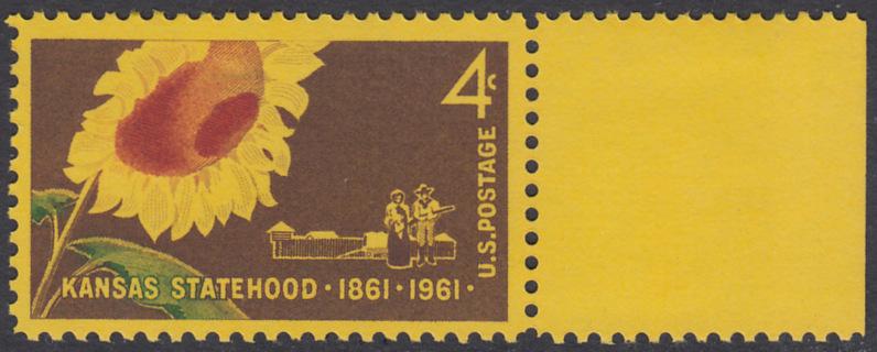 USA Michel 809 / Scott 1183 postfrisch EINZELMARKE RAND rechts - 100 Jahre Staat Kansas: Sonnenblume (Staatsblume), Pionierpaar vor Pallisade