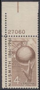 USA Michel 815 / Scott 1189 postfrisch EINZELMARKE ECKRAND oben links m/Platten-# 27060 - 100. Geburtstag von James Naismith; Baskeball