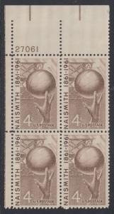 USA Michel 815 / Scott 1189 postfrisch PLATEBLOCK ECKRAND oben links m/Platten-# 27061 (a) - 100. Geburtstag von James Naismith; Baskeball