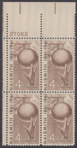 USA Michel 815 / Scott 1189 postfrisch PLATEBLOCK ECKRAND oben links m/Platten-# 27062 - 100. Geburtstag von James Naismith; Baskeball
