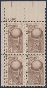 USA Michel 815 / Scott 1189 postfrisch PLATEBLOCK ECKRAND oben links m/Platten-# 27060 - 100. Geburtstag von James Naismith; Baskeball