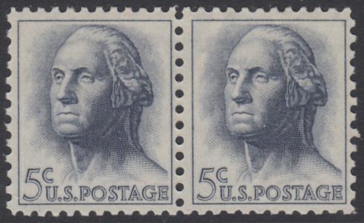 USA Michel 817 / Scott 1213 postfrisch horiz.PAAR - Berühmte Amerikaner: George Washington, 1. Präsident