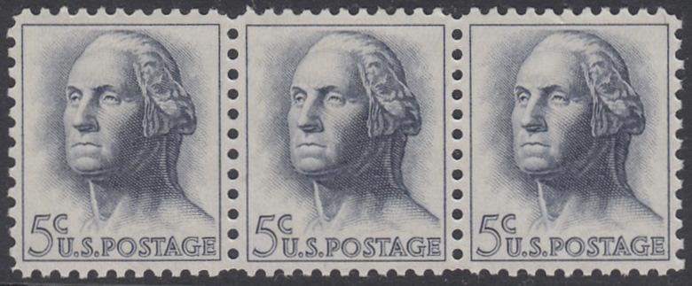 USA Michel 817 / Scott 1213 postfrisch horiz.STRIP(3) - Berühmte Amerikaner: George Washington, 1. Präsident