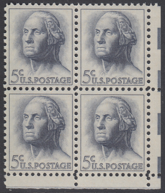 USA Michel 817 / Scott 1213 postfrisch BLOCK ECKRAND unten rechts (a2) - Berühmte Amerikaner: George Washington, 1. Präsident