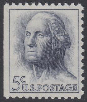 USA Michel 817x / Scott 1213a postfrisch EINZELMARKE aus MH (links ungezähnt)  - Berühmte Amerikaner: George Washington, 1. Präsident