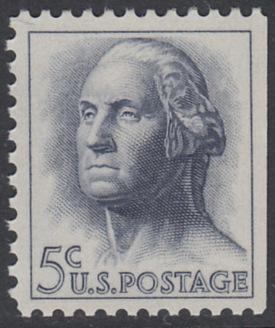 USA Michel 817x / Scott 1213a postfrisch EINZELMARKE aus MH (rechts ungezähnt) - Berühmte Amerikaner: George Washington, 1. Präsident
