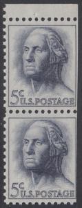 USA Michel 817x / Scott 1213a postfrisch vert.PAAR aus MH (rechts ungezähnt) RAND oben - Berühmte Amerikaner: George Washington, 1. Präsident