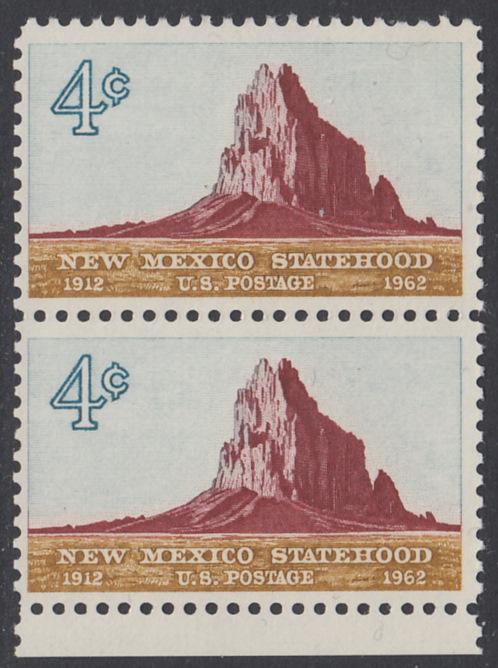 USA Michel 820 / Scott 1191 postfrisch vert.PAAR RAND unten - 50 Jahre Staat New Mexiko; Felsformation Shiprock