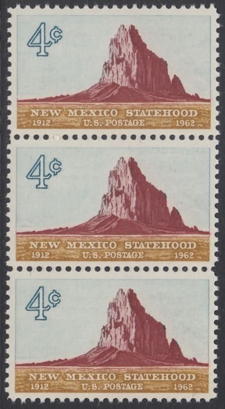 USA Michel 820 / Scott 1191 postfrisch vert.STRIP(3) - 50 Jahre Staat New Mexiko; Felsformation Shiprock