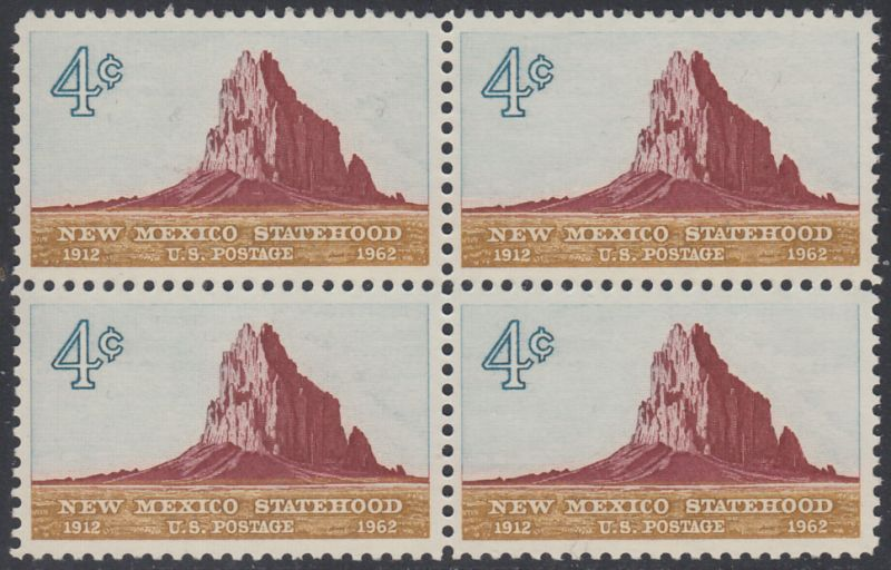 USA Michel 820 / Scott 1191 postfrisch BLOCK - 50 Jahre Staat New Mexiko; Felsformation Shiprock