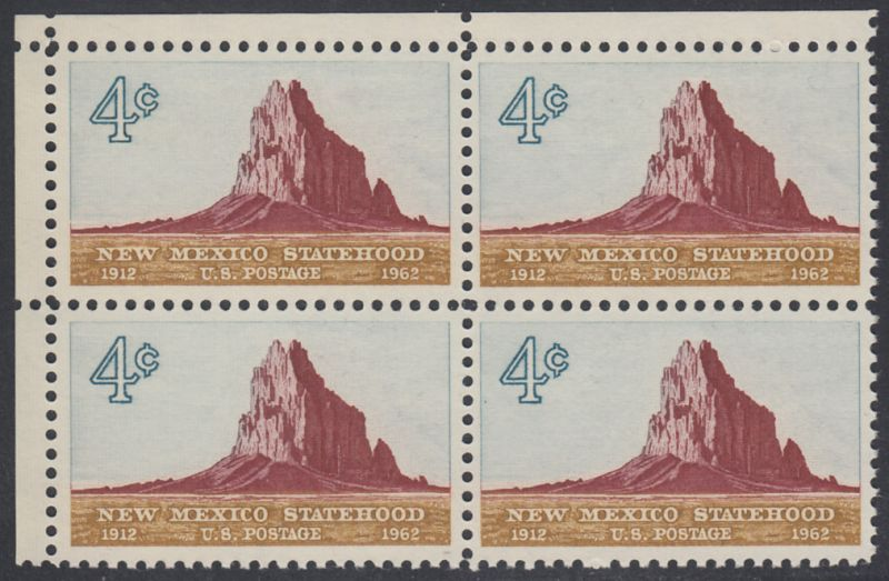 USA Michel 820 / Scott 1191 postfrisch BLOCK ECKRAND oben links - 50 Jahre Staat New Mexiko; Felsformation Shiprock