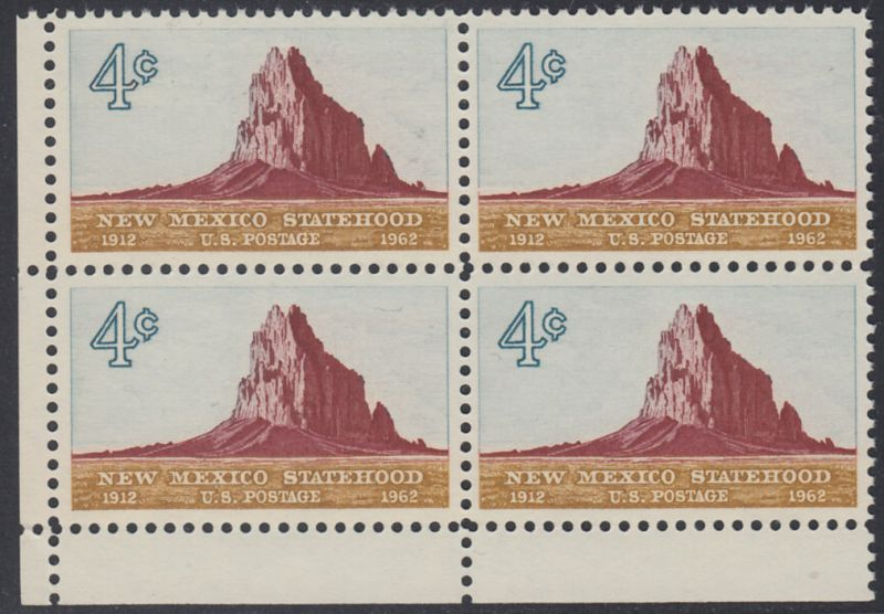 USA Michel 820 / Scott 1191 postfrisch BLOCK ECKRAND unten links - 50 Jahre Staat New Mexiko; Felsformation Shiprock