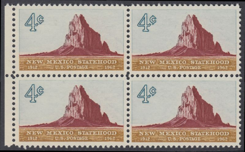 USA Michel 820 / Scott 1191 postfrisch BLOCK RAND links - 50 Jahre Staat New Mexiko; Felsformation Shiprock