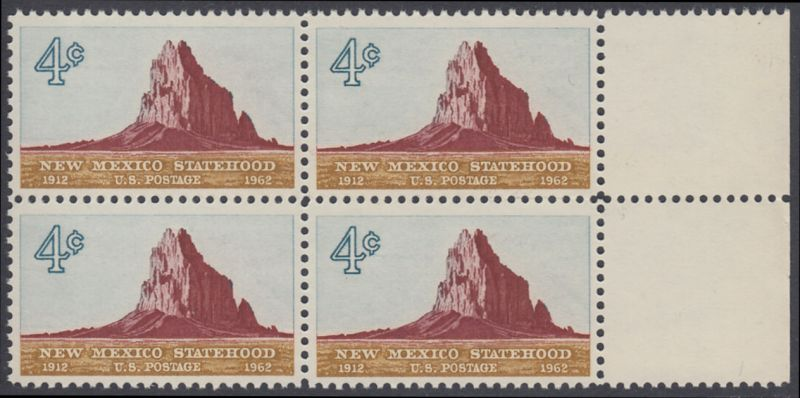 USA Michel 820 / Scott 1191 postfrisch BLOCK RAND rechts - 50 Jahre Staat New Mexiko; Felsformation Shiprock