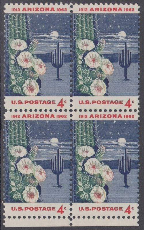 USA Michel 821 / Scott 1192 postfrisch BLOCK RAND unten - 50 Jahre Staat Arizona: Riesen-Saguaro-Kaktus