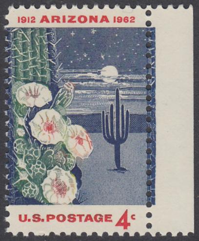 USA Michel 821 / Scott 1192 postfrisch EINZELMARKE RAND rechts - 50 Jahre Staat Arizona: Riesen-Saguaro-Kaktus