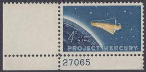 """USA Michel 822 / Scott 1193 postfrisch EINZELMARKE ECKRAND unten links m/Platten-# 27065 - Erster bemannter US-Weltraumflug von John Glenn jr.; Mercury-Kapsel """"Friendship 7"""" im Weltraum"""