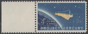 """USA Michel 822 / Scott 1193 postfrisch EINZELMARKE RAND links - Erster bemannter US-Weltraumflug von John Glenn jr.; Mercury-Kapsel """"Friendship 7"""" im Weltraum"""