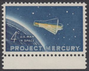 """USA Michel 822 / Scott 1193 postfrisch EINZELMARKE RAND unten - Erster bemannter US-Weltraumflug von John Glenn jr.; Mercury-Kapsel """"Friendship 7"""" im Weltraum"""
