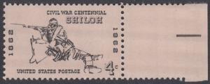 USA Michel 824 / Scott 1179 postfrisch EINZELMARKE RAND rechts - 100 Jahrestag des Bürgerkrieges: Schlacht von Shiloh