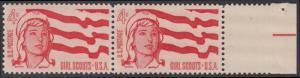USA Michel 829 / Scott 1199 postfrisch horiz.PAAR RAND rechts - 50 Jahre amerikanische Pfadfinderinnen-Bewegung