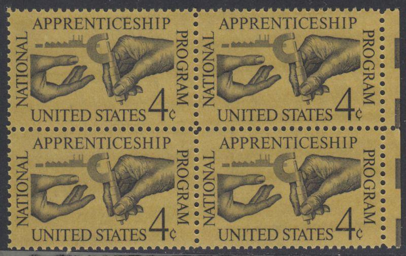 USA Michel 831 / Scott 1201 postfrisch BLOCK RAND rechts - 25 Jahre nationales Lehrlingsausbildungsgesetz; Facharbeiter übergibt Lehrling Mikrometerschraube