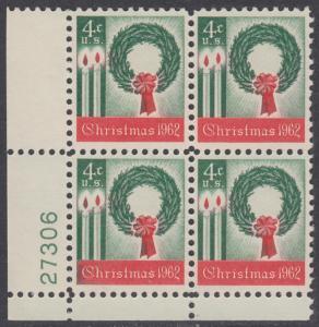 USA Michel 834 / Scott 1205 postfrisch PLATEBLOCK ECKRAND unten links m/Platten-# 27306 - Weihnachten