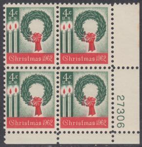 USA Michel 834 / Scott 1205 postfrisch PLATEBLOCK ECKRAND unten rechts m/Platten-# 27306 - Weihnachten