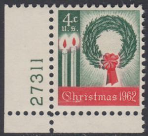USA Michel 834 / Scott 1205 postfrisch EINZELMARKE ECKRAND unten links m/Platten-# 27311 - Weihnachten