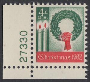 USA Michel 834 / Scott 1205 postfrisch EINZELMARKE ECKRAND unten links m/Platten-# 27330 - Weihnachten