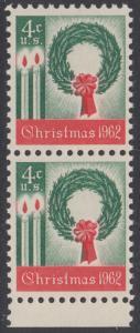 USA Michel 834 / Scott 1205 postfrisch vert.PAAR RAND unten- Weihnachten