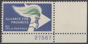 USA Michel 847 / Scott 1234 postfrisch EINZELMARKE ECKRAND unten rechts m/Platten-# 27567 - Bündnis für den Fortschritt