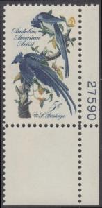USA Michel 854 / Scott 1241 postfrisch EINZELMARKE ECKRAND unten rechts m/Platten-# 27590 - John James Audubon; Zeichner und Ornithologe