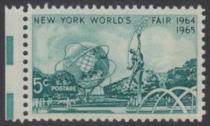 USA Michel 857 / Scott 1244 postfrisch EINZELMARKE RAND links (a2) - Weltausstellung 1964/1965, New York