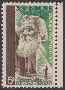 USA Michel 858 / Scott 1245 postfrisch EINZELMARKE RAND rechts - John Muir, Naturwissenschaftler; Mammutbäume