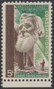 USA Michel 858 / Scott 1245 postfrisch EINZELMARKE RAND unten - John Muir, Naturwissenschaftler; Mammutbäume