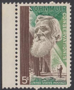 USA Michel 858 / Scott 1245 postfrisch EINZELMARKE RAND links - John Muir, Naturwissenschaftler; Mammutbäume