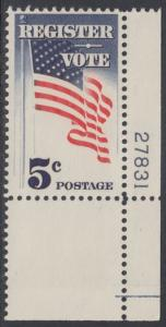USA Michel 863 / Scott 1249 postfrisch EINZELMARKE ECKRAND unten rechts m/Platten-# 27831 - Aufforderung zur Wahlbeteiligung; Flagge der USA