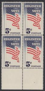 USA Michel 863 / Scott 1249 postfrisch BLOCK RÄNDER unten - Aufforderung zur Wahlbeteiligung; Flagge der USA