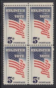 USA Michel 863 / Scott 1249 postfrisch BLOCK RÄNDER oben - Aufforderung zur Wahlbeteiligung; Flagge der USA