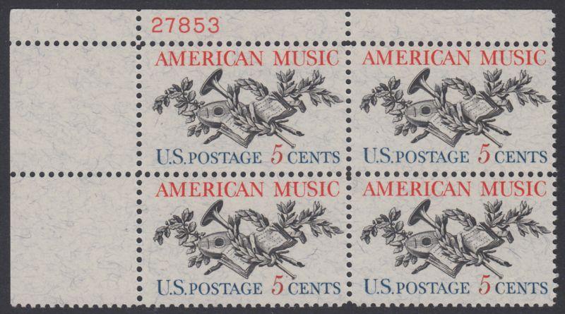 USA Michel 867 / Scott 1252 postfrisch PLATEBLOCK ECKRAND oben links m/ Platten-# 27853 - Amerikanische Musik; 50 Jahre Amerikanische Vereinigung der Komponisten, Textdichter und Verleger (ASCAP)