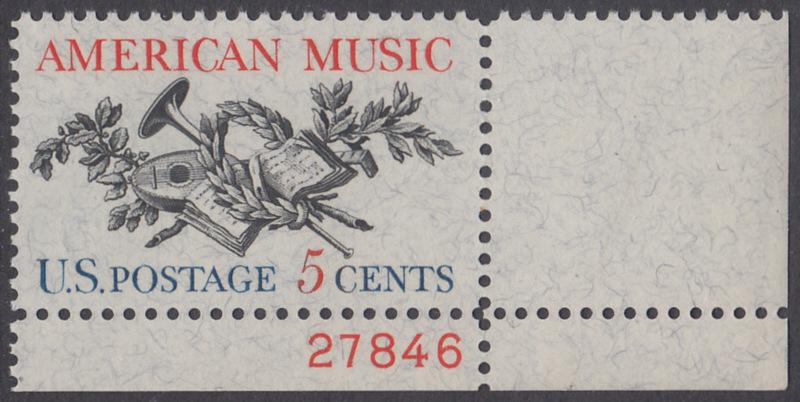 USA Michel 867 / Scott 1252 postfrisch EINZELMARKE ECKRAND unten rechts m/ Platten-# 27846 - Amerikanische Musik; 50 Jahre Amerikanische Vereinigung der Komponisten, Textdichter und Verleger (ASCAP)