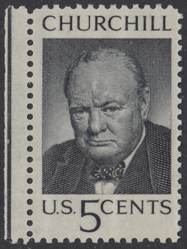 USA Michel 880 / Scott 1264 postfrisch EiNZELMARKE RAND links - Winston Spencer Churchill; britischer Politiker, Nobelpreis 1953