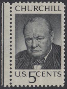 USA Michel 880 / Scott 1264 postfrisch EiNZELMARKE RAND links - Winston Spencer Churchill; britischer Politiker, Nobelpreis 1953