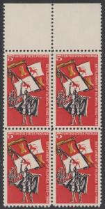 USA Michel 887 / Scott 1271 postfrisch BLOCK RÄNDER oben - 400. Jahrestag der Besiedelung von Florida: Gründung von St. Augustine; Spanischer Eroberer, Flagge und Segelschiff (16. Jh.)