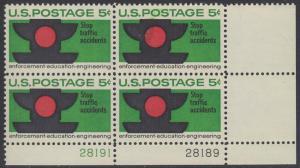 USA Michel 888 / Scott 1272 postfrisch PLATEBLOCK ECKRAND unten rechts m/Platten-# 28189 - Verkehrssicherheit: Verkehrsampel