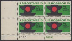 USA Michel 888 / Scott 1272 postfrisch PLATEBLOCK ECKRAND unten links m/Platten-# 28201 - Verkehrssicherheit: Verkehrsampel