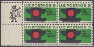 USA Michel 888 / Scott 1272 postfrisch ZIP-BLOCK (oben links) - Verkehrssicherheit: Verkehrsampel