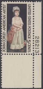 USA Michel 889 / Scott 1273 postfrisch EINZELMARKE ECKRAND unten rechts m/Platten-# 28213 - John Singleton Copley, Maler